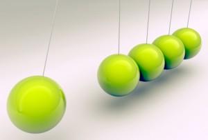 Newton cradle with metallic balls in green, 3d illustration