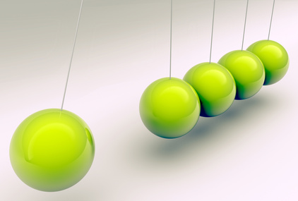Newton cradle with metallic balls in green, 3d illustration