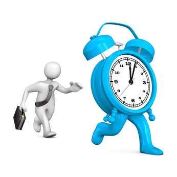 White cartoon character runs with big blue alarmer.