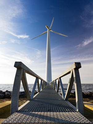 Large modern wind turbine at the Markermeer lake in the Netherlands