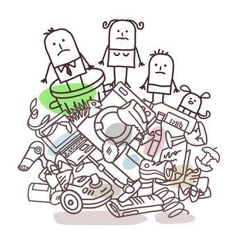 cartoon family on top of big rubbish pile