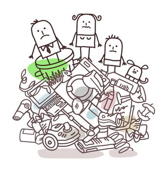 cartoon family on top of big rubbish pile