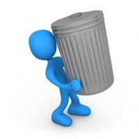 3d person carrying a big trash can.