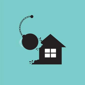 Demolition House By A Big Pendulum Vector Illustration