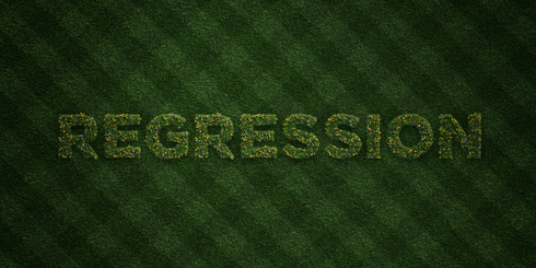 REGRESSION - fresh Grass letters with flowers and dandelions - 3D rendered royalty free stock image. Can be used for online banner ads and direct mailers.