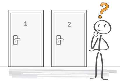entscheidung; entscheiden; wahl; überlegen, karriere; Fragezeichen; orientierung; möglichkeiten; richtig; nachdenken, vergleichen, wählen,wohin; richtung; Lebensplanung; fragend; Türen; beruf; Geschäft; bewerben; Job; abschätzen; Beratung; fortbildung; herausforderung; lösung; planung; Ziel; strategie; weiterbildung; zukunft; männchen; Strichmännchen