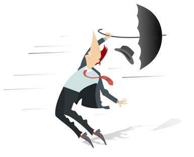 Windy day and man with a hat and umbrella isolated. Strong wind and a man lost his hat and trying to keep an umbrella isolated on white illustration