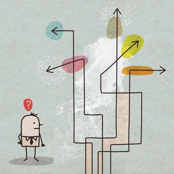Cartoon Businessman Choosing a Direction
