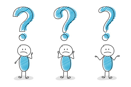 Question mark icon with confused stickman - collection. Vector.