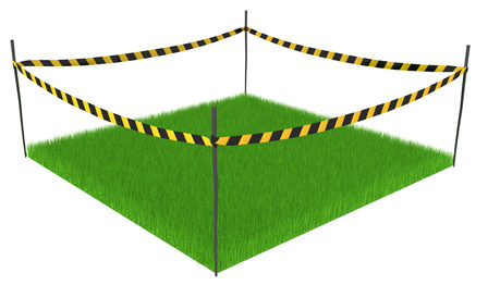 Green grass lawn square cordoned off, 3d illustration, horizontal, isolated