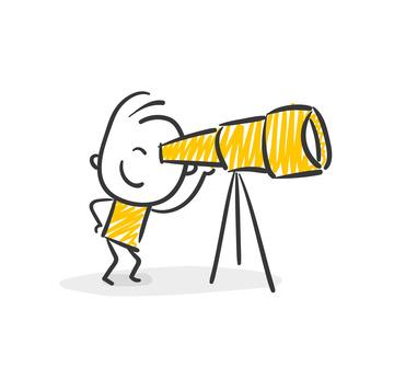Strichfiguren / Strichmnnchen: Suche, Fernrohr, Ziel, Aussichten, Perspektive. (Nr. 10)