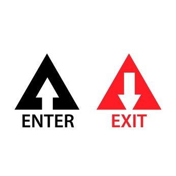 Exit and enter vector icons. Flat design