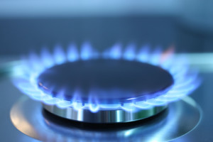 Gas burner flame on domestic kitchen range