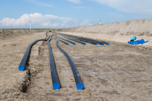 Digging of a big electricity cable trench for a big new windfarm in the Netherlands