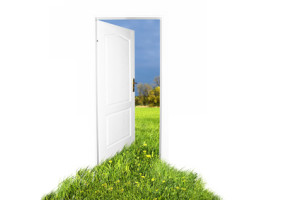Door to new world. Easy editable image.