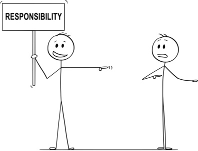 Cartoon stick drawing conceptual illustration of man or businessman holding sign with responsibility text and blaming another man.