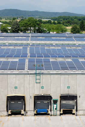 Solar energy electric panels creation on a storage building